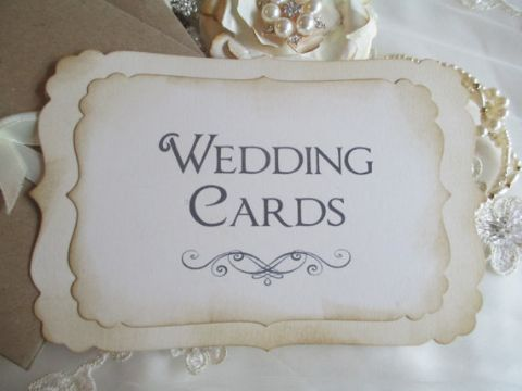 Handmade Wedding Cards Sign Vintage Style